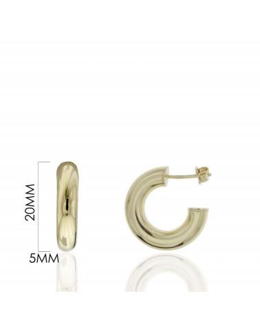 Aros de plata de ley 925 chapados en oro con chapa colgando