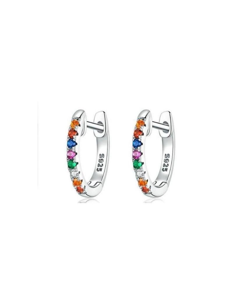Pendientes de plata de ley 925 aros pequeños con circonitas multicolor