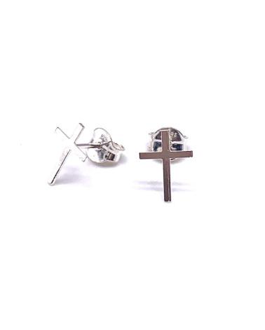 Pendiente de plata de ley 925 con forma de cruz con cierre