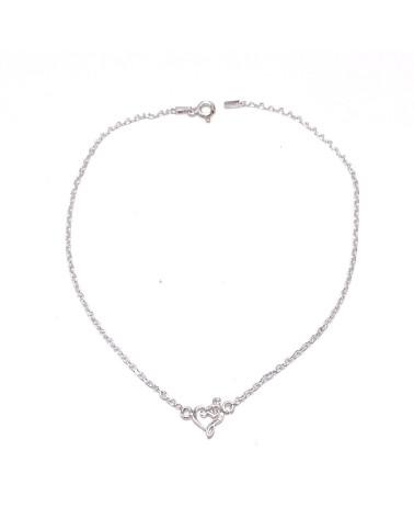 Tobillera plata de ley 925 con forma de corazones  26 cm de largo