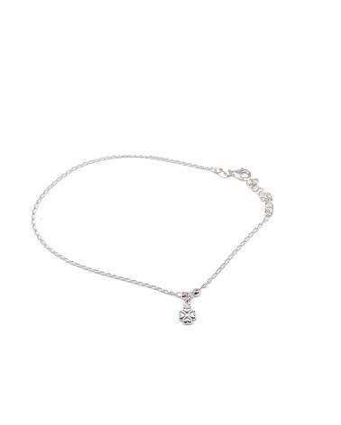 Tobillera plata de ley 925 con forma de corazón clave de sol 26 cm de largo