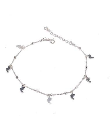 Tobillera plata de ley 925 con forma de estrellas y bolas 26 cm de largo máximo