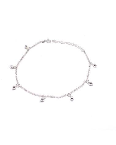 Tobillera plata de ley 925 con forma de estrellas colgando 26 cm de largo máximo