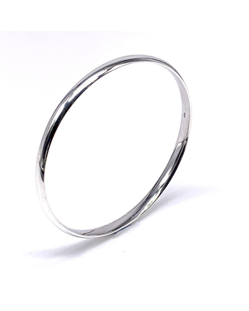 Pulsera plata de ley 925 rigida con forma de infinito diametro 55 mm
