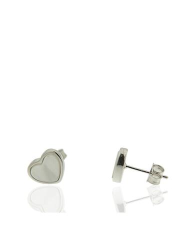 Pendiente de plata rodiada con forma de corazón con nácar de cierre de presión