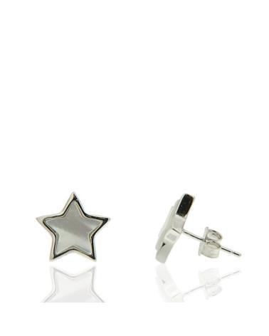 Pendiente de plata rodiada con forma de estrella con nácar de cierre de presión