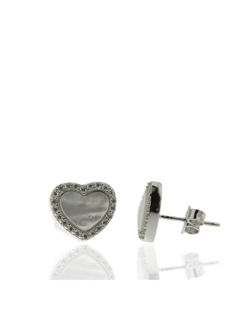 Pendiente de plata rodiada con forma de corazón con circonita microengastada de cierre presión