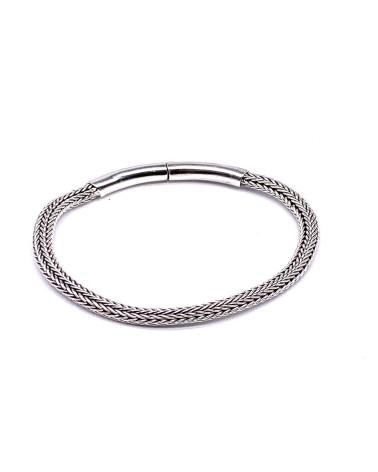 Pulsera de plata de ley 925 circulos ovalados 20cm con cierre de seguridad