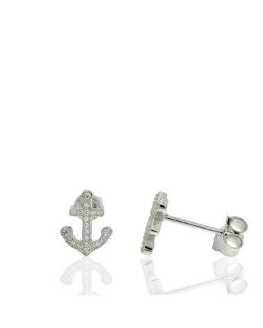 Pendiente de plata rodiada con forma de cruz marinera con circonita microengastada de cierre de presión