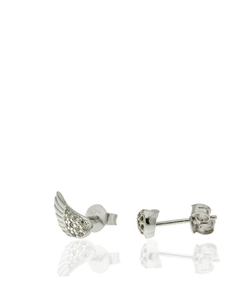 Pendiente de plata rodiada con forma de alas con circonita microengastada de cierre de presión