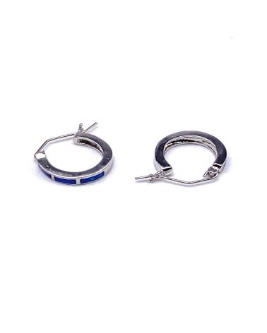Aro de plata de ley 925 de piedra opalo diámetro 22 mm con cierre de presión