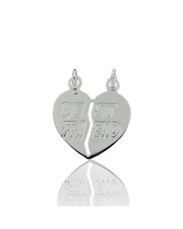 Colgante de plata rodiada con forma de corazón partido best friend