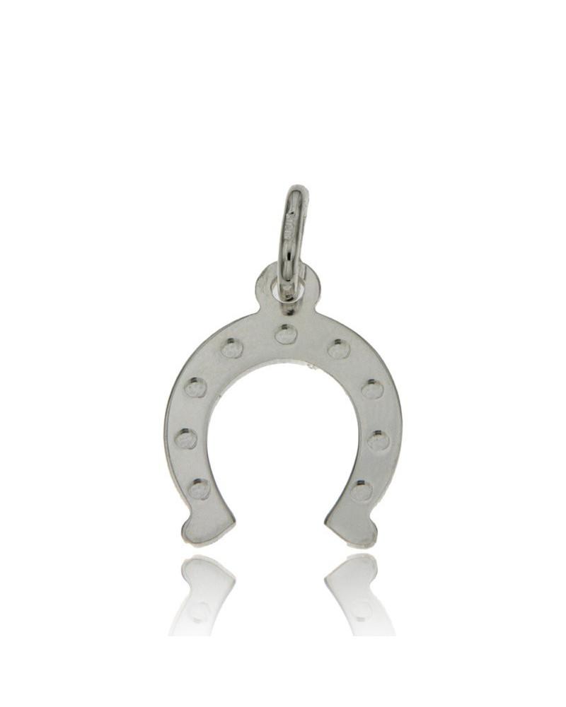 Colgante de plata rodiada con forma de herradura