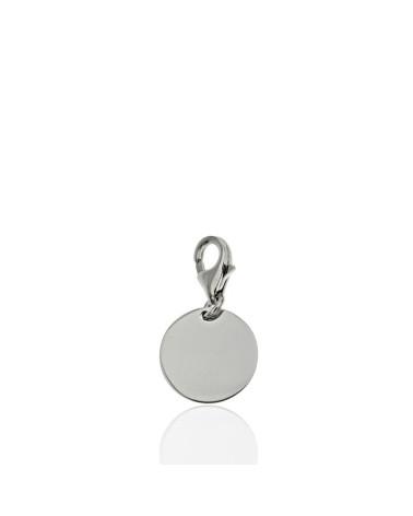 Colgante de plata rodiada con forma de chapa lisa 14mm