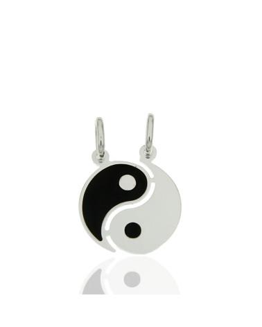 Colgante de plata rodiada en forma de yin yang dos mitades