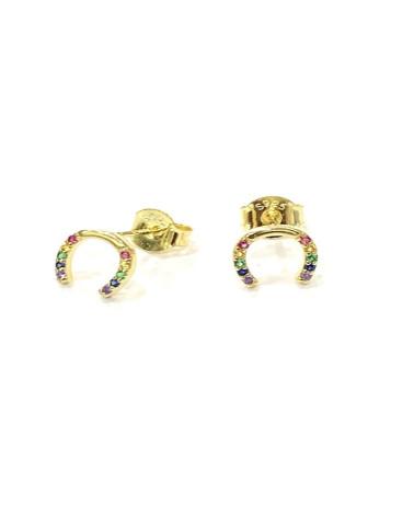 Pendientes de plata de ley 925 chapado en oro con forma de corazón y circonita multicolor microengastada con cierre de presión