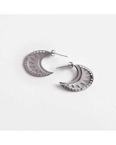 Aros de plata de ley 925 rodiado con forma de espiral y cierre de presión