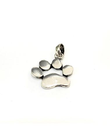 Colgante de plata de ley 925 con forma de huella de perro