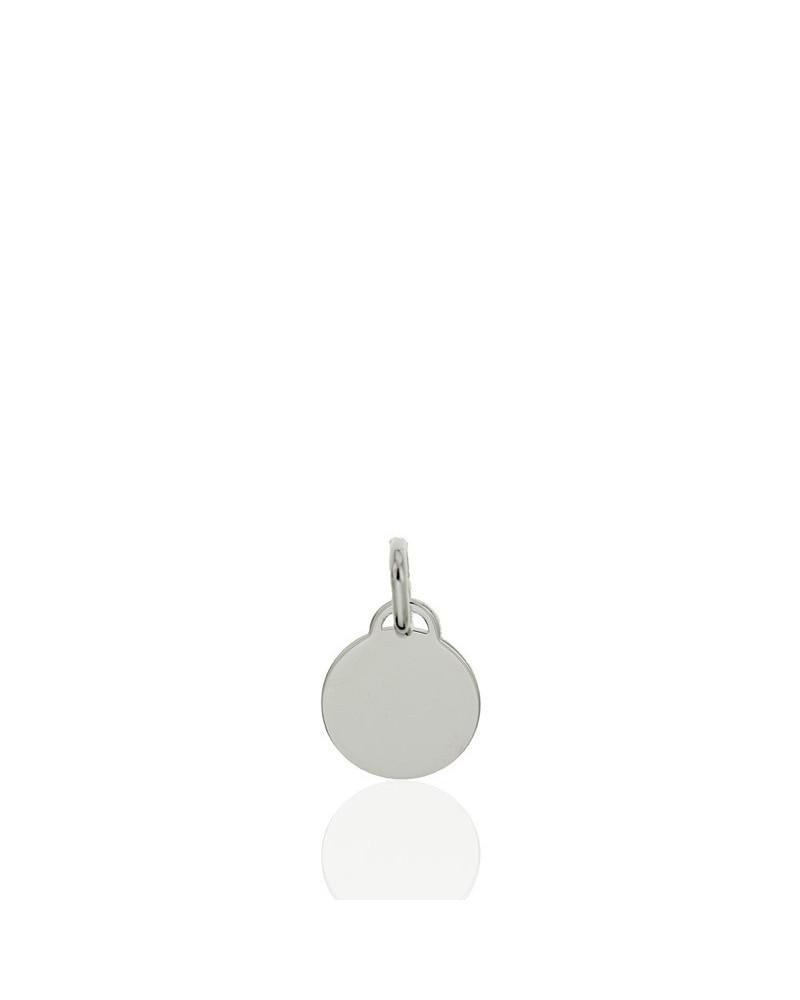 Colgante de plata rodiada en forma de chapa redonda lisa 12 mm