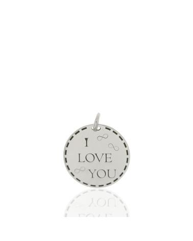 Colgante de plata rodiada en forma de chapa redonda i love you