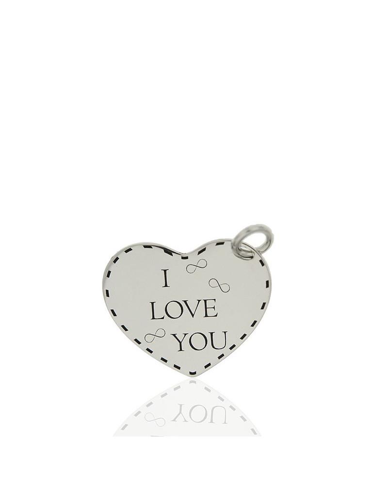 Colgante de plata rodiada en forma de corazón i love you