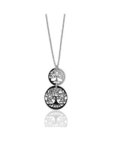 Gargantilla de plata rodiada con forma de 2 arboles de la vida