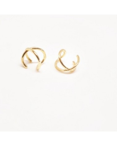 Cartilago doble en plata de ley chapado en oro