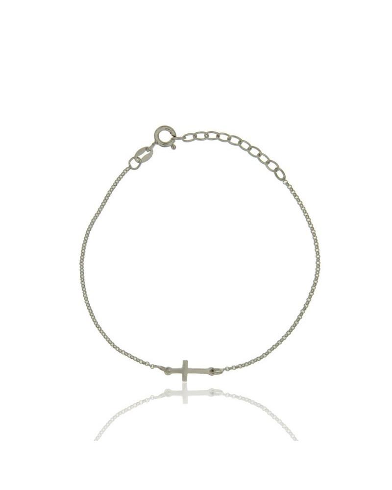 Pulsera de plata rodiada con forma de cruz fina