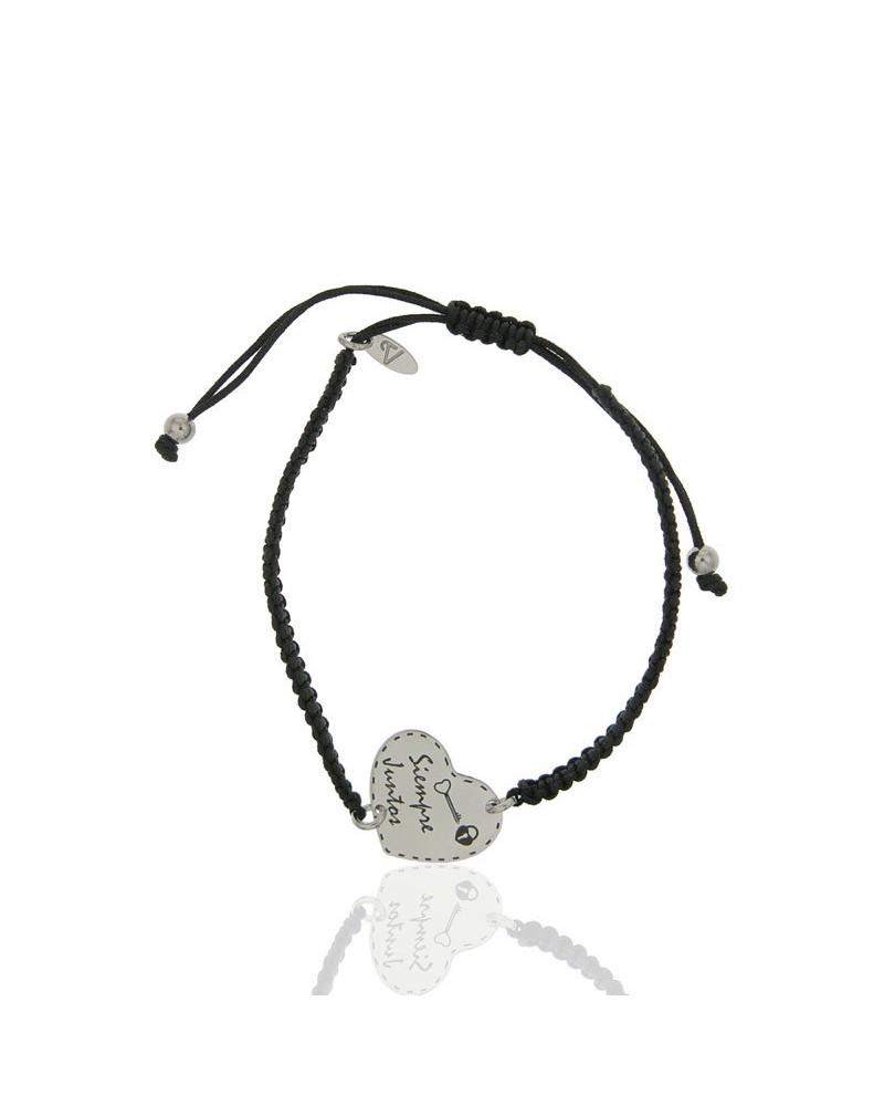 Pulsera de macrame con chapa de plata rodiada en forma de corazón siempre juntos cierre nudo corredizo