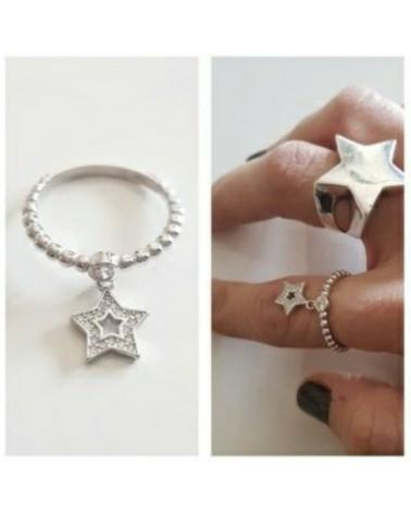 Anillo de plata y estrella