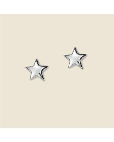 Pendiente de plata con forma de estrella de cierre presión