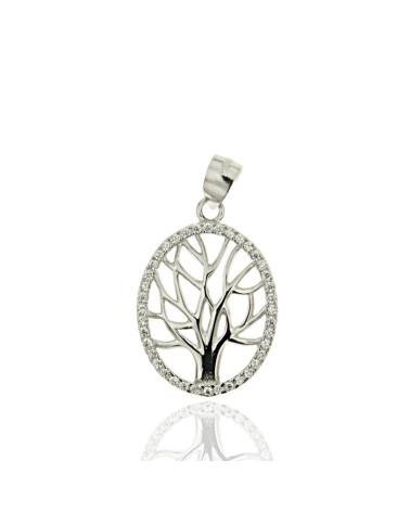 Colgante en plata rodiada con forma de árbol de la vida con circonitas microengastadas