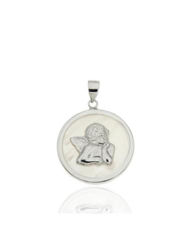 Colgante en plata rodiada con forma de ángel con nacar