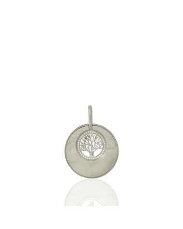 Colgante en plata rodiada con forma de árbol de la vida con nácar y circonita microengastada