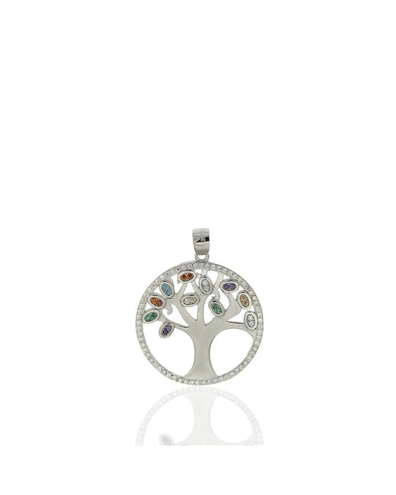 Colgante de plata rodiada con forma de arbol de la vida y circonitas de chakras