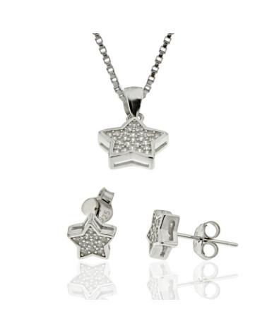 Juego de plata rodiada con forma de estrella de pendientes con cierre a presion y gargantilla con circonita microengastada