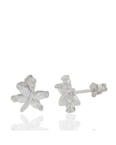 Pendiente de plata rodiada con forma de libélula de circonita microengastada con cierre de presión