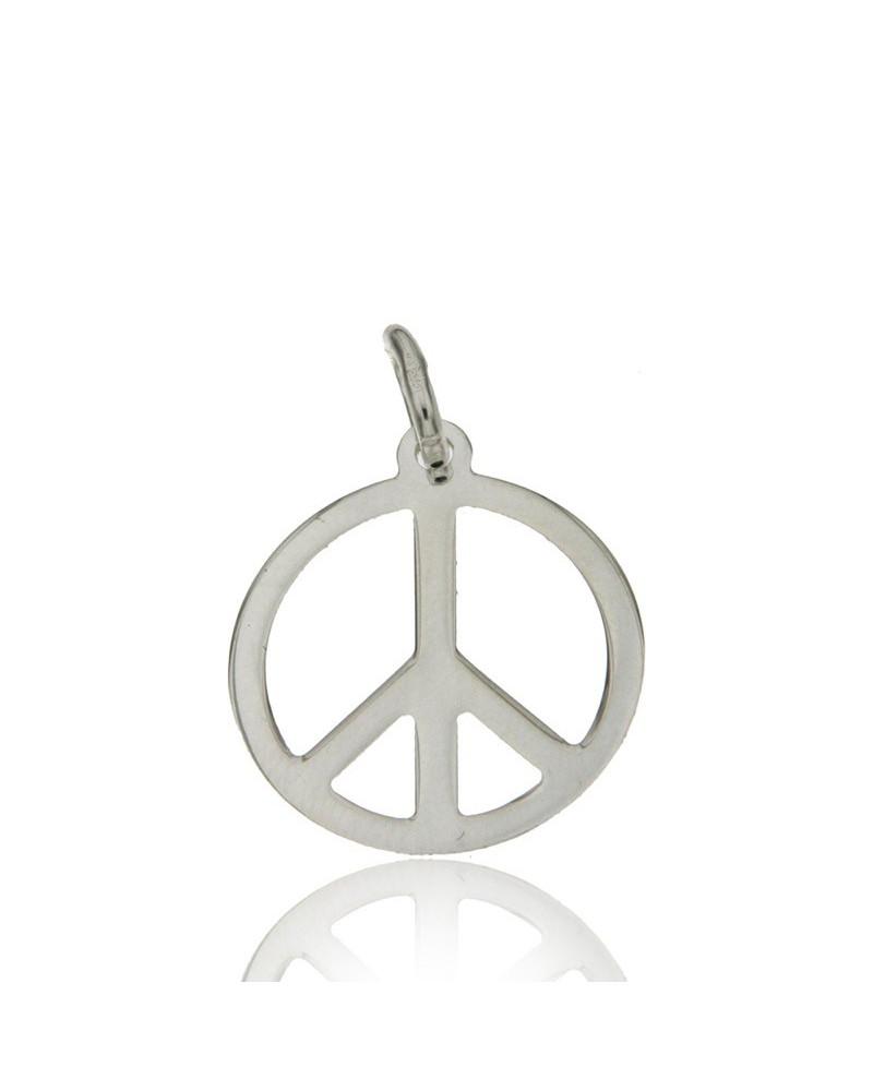 Colgante de plata rodiada con forma de símbolo de la paz