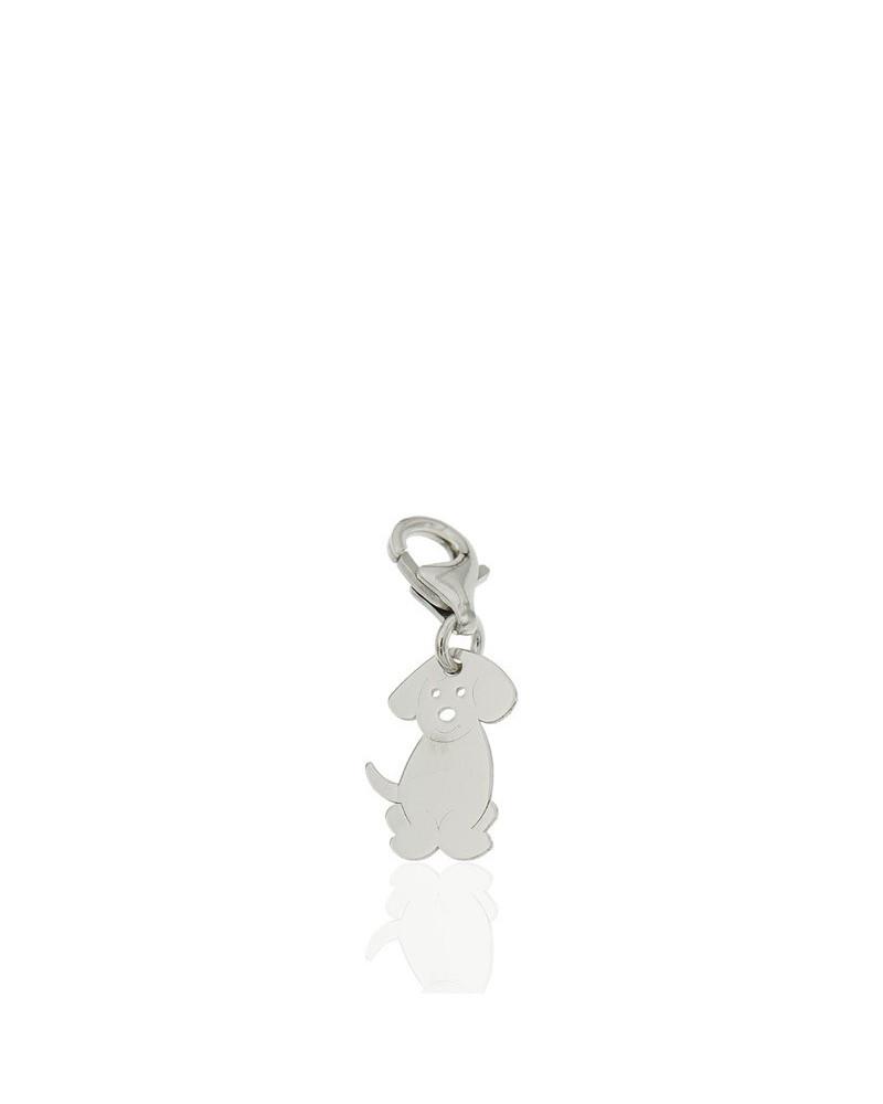 Colgante de plata rodiada con forma de perro con cierre mosquetón