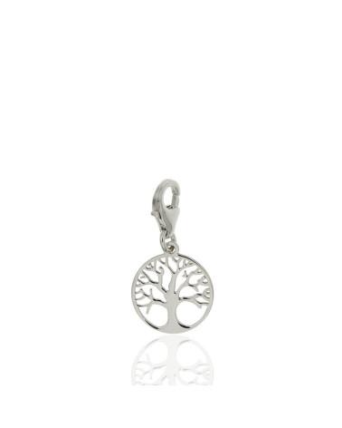 Colgante de plata rodiada con forma de árbol de la vida con cierre mosquetón