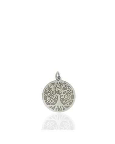 Colgante de plata rodiada con forma de árbol de la vida
