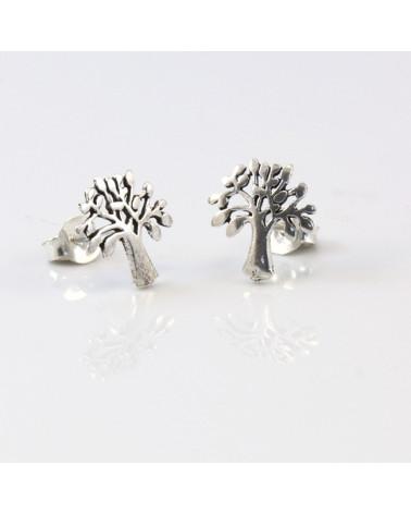 Pendiente de plata con forma de árbol de la vida con cierre de presión