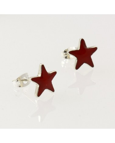 Pendiente de plata con forma de estrella con cierre de presión
