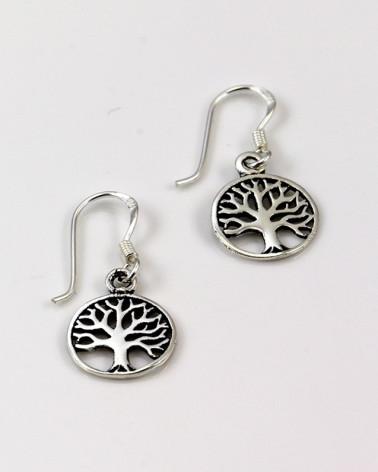 Pendiente de plata con forma de árbol de la vida con cierre de gancho